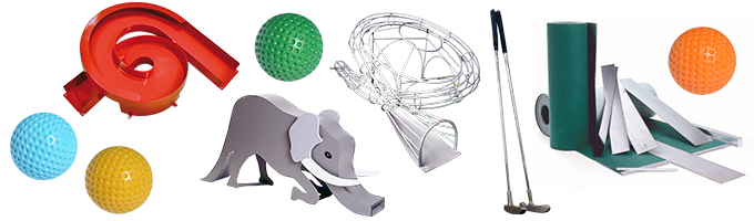 Golf clubs, balls, obstacles and repair material.
